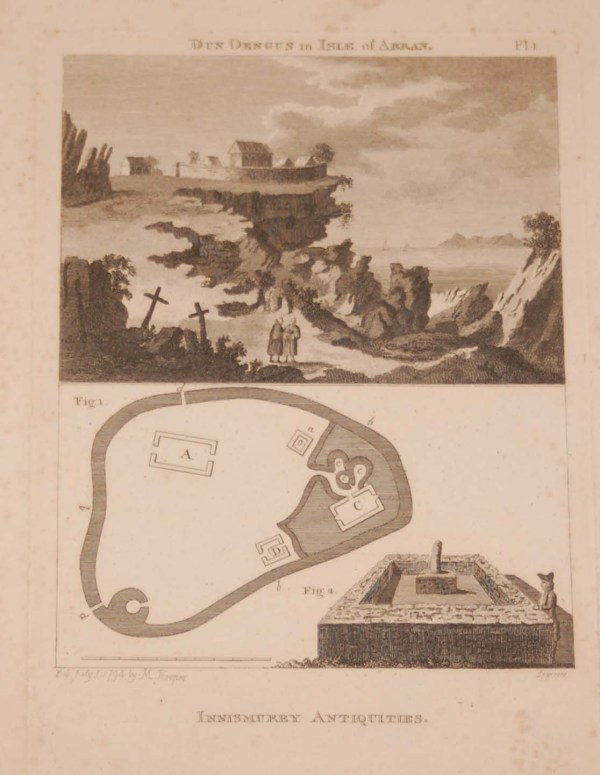 """Two part copper plate engraving of, Dun Aengus Fort in Co Galway. titled on the print """"Dun Oengus"""" and plan and drawing of Innismurry in Sligo."""