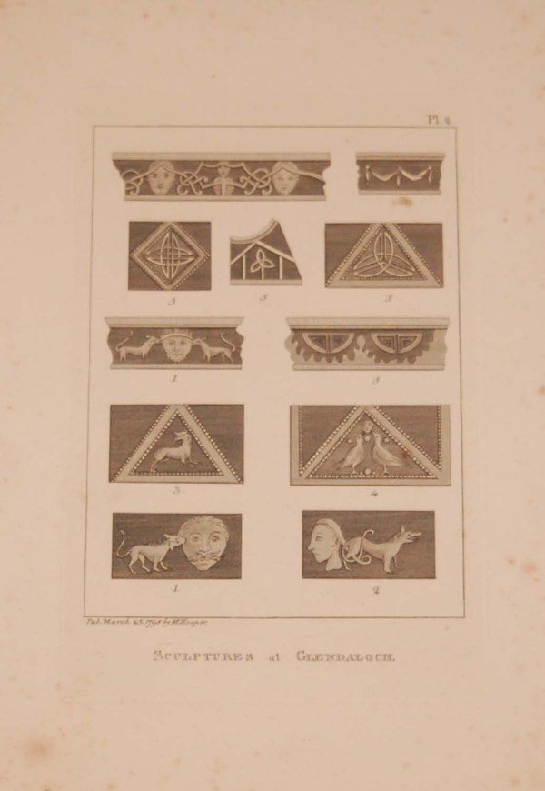Antique print, from 1797 a copperplate engraving titled Sculptures at Glendaloughs, after original drawings by Francis Grose.