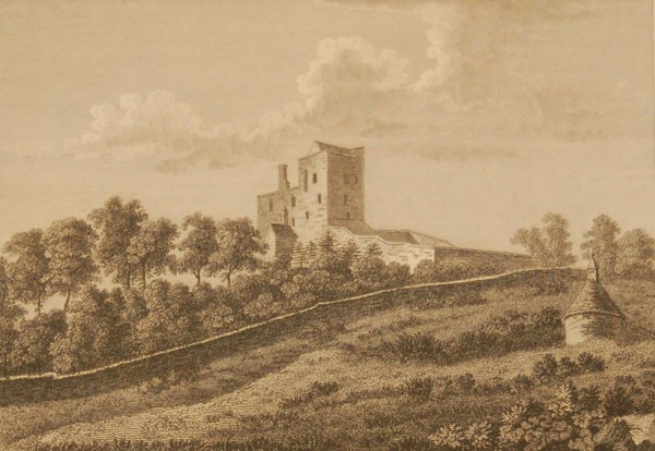 1797 antique print a copperplate engraving of Shean Castle, County Laois, Ireland.