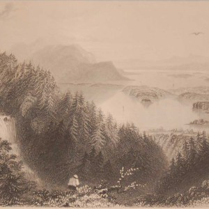 Antique Steel engraving of the Lower and Turks Lake, Killarney, County Kerry, Ireland. Engraved by J B Allen and is after a drawing by William Bartlett.
