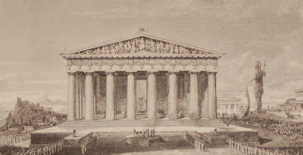 Antique print Greece, 1892 steel engraving of the Parthenon of Athens restored.The original drawing was by H W Williams and engraved by J Horsburgh.