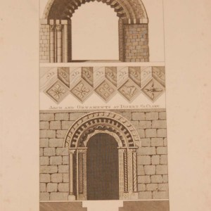 Antique print, from 1797 a copperplate engraving arches Kildare and Clare, Ireland, after original drawings by Francis Grose.