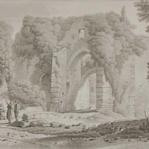 Aquatint from 1817 by the famous Austrian engraver Benedict Piringer, titled, Vue de la Porte de la Cour du Donjon, dans l'interieur du Chateau de Clisson