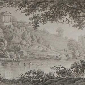 Aquatint from 1817 by the famous Austrian engraver Benedict Piringer, titled, Vue du élevé sur les ruines de la Chapelle St Gilles á Clisson