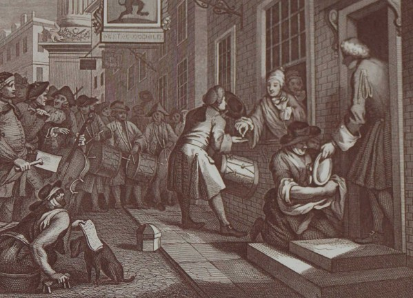 Antique print an engraving after William Hogarth . The engraving is titled Industry and Idleness Plate 6