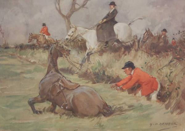 Vintage 1935 colour print by G D Armour ( George Denholm Armour 1864 to 1949), the print is titled Plate X- Echoes of the Chase