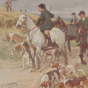 Vintage 1935 colour print by G D Armour ( George Denholm Armour 1864 to 1949), the print is titled Plate V- Proverbs Revised