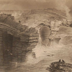 1841 Antique Steel engraving of the Natural Bridges near Kilkee, Clare, Ireland. The print was engraved by J C Bentley & is after a drawing by William Bartlett.