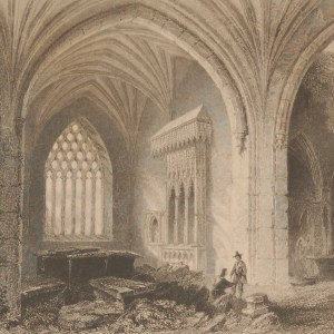 1841 Antique print of the Interior of Holy Cross Abbey,Tipperary, Ireland. The print was engraved by E J Roberts and is after a drawing by William Bartlett.