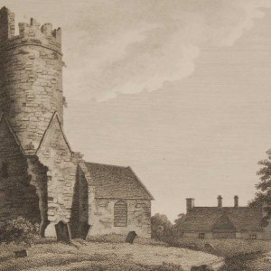 1797 antique print a copper plate engraving of Kilussy Church, County Kildare, Ireland.