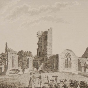 1797 original antique print a copper plate engraving of Roscommon Abbey County Roscommon, Ireland.