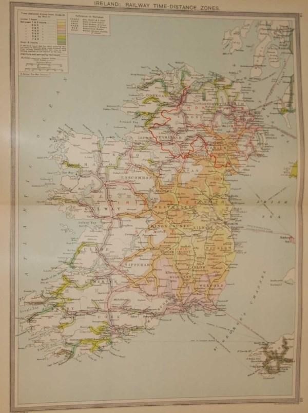 Large vintage map from 1930 of Ireland mapping the railways and is colour coded to reflect the traveling time from Dublin.