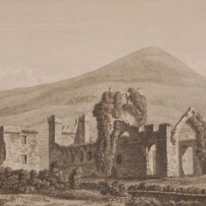 1797 antique print a copper plate engraving of Carlingford Abbey, County Louth, Ireland.