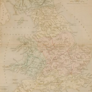 1851 antique map titled Britannia ( Britain) , the map has the roman place names with the English version in brackets.