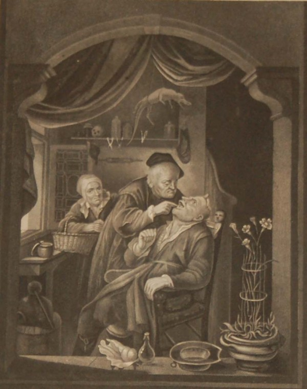 Antique print, Victorian, an engraving published in 1840 after a painting by G Douw titled The Tooth Drawer. The work was engraved by Read.