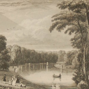 Antique print, Victorian, an engraving published in 1840 after a painting by J Sargeant titled View from the Bridge. The work was engraved by H Wallis.