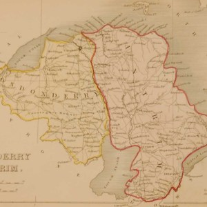 Antique colour Map of Derry and Antrim, the map was engraved by A Adlard and published by Hall and Virtue in London. These maps are referenced as being produced between 1846 and 1850.