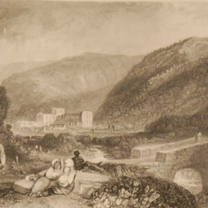Rievaulx Abbey Yorkshire, antique print, an engraving from circa 1880 after the original painting by J M Turner.