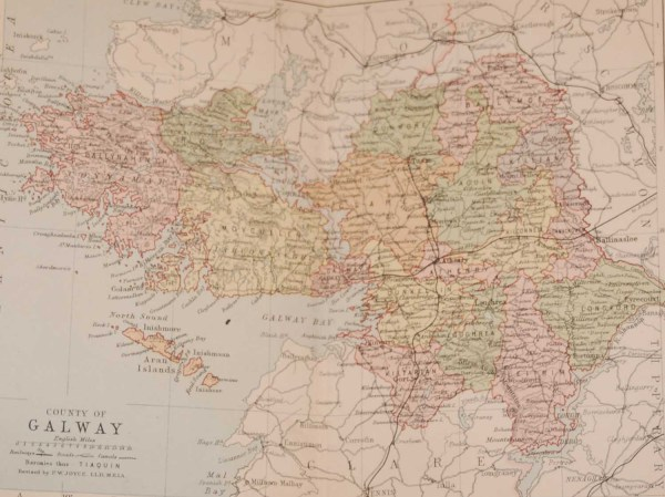 1881 Antique Colour Map of The County of Galway