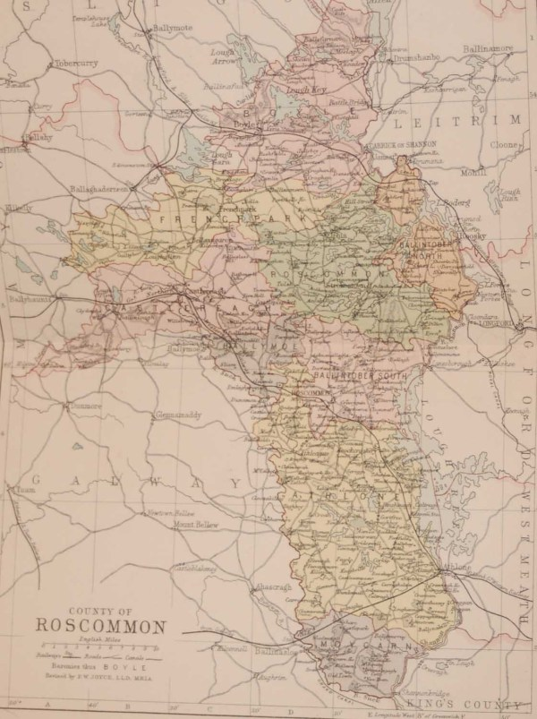 1881 Antique Colour Map of The County of Roscommon printed by George Philips, with the map constructed by John Bartholomew and edited by P. W. Joyce.