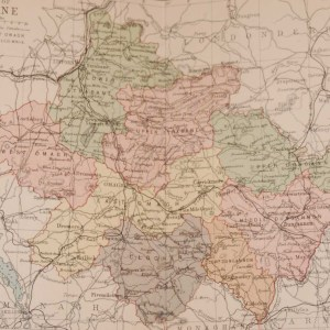 1881 Antique Colour Map of The County of Tyrone printed by George Philips, with the map constructed by John Bartholomew and edited by P. W. Joyce.