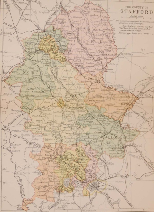 Antique colour map Victorian of the County of Stafford, printed in 1895, maps by George Philips based in London & Liverpool.