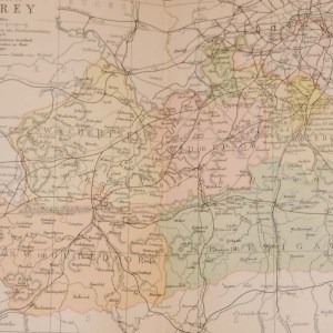 Antique Victorian colour map of the County of Surrey, printed in 1895, maps by George Philips based in London & Liverpool.