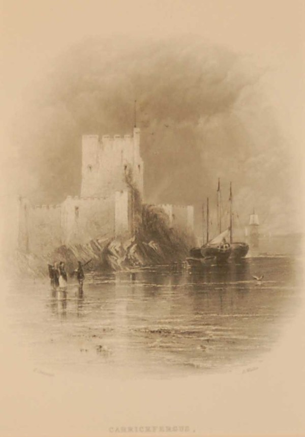 1850 antique print a steel engraving of Carrickfergus in County Antrim. The print was engraved by R Wallis and is after a drawing by T Creswick.