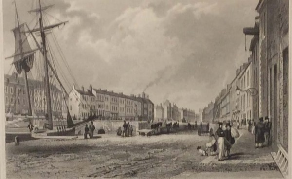 Antique print from 1832 of High Street Belfast, County Antrim, Ireland. The print was engraved by J Davis and is after a drawing by T M Baynes.