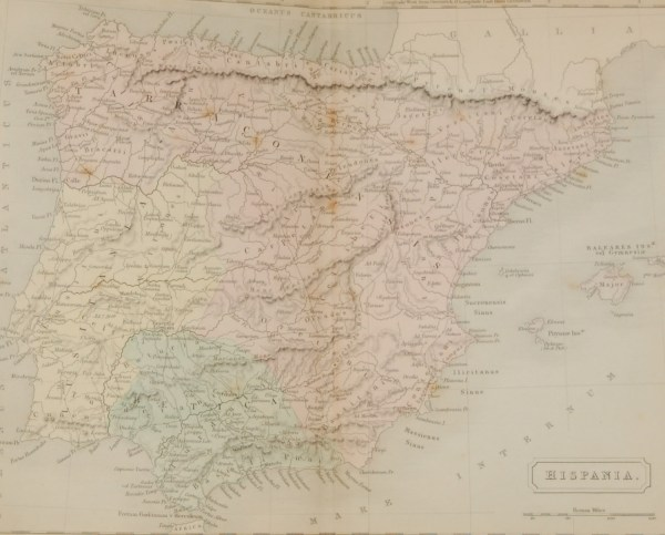 1851 antique map titled Hispania, which is the Romain name for the whole Iberian peninsula, the map has the roman place names and states of the time.