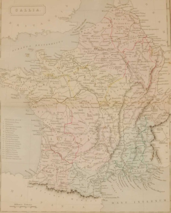 1851 antique map of Gallia, Gallia and Gaul where the Roman names for what we call France today. Map has the list of the Roman provinces of France.