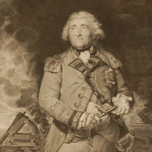 Lord Heathfield with the keys of Gibraltar, antique print, Victorian, an engraving from circa 1880 after the original painting by Sir Joshua Reynolds.