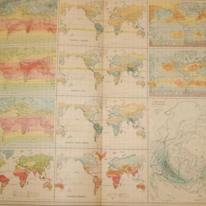 Large vintage map from 1922 titled World Climate. The map looks at temperature, rainfall, pressure and winds.