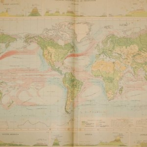 Large vintage map from 1922 titled World Vegetation and Ocean Currents. The map is broken into a main world map and then six smaller maps