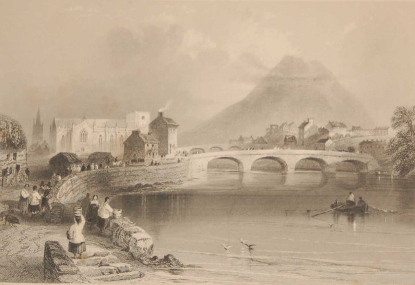 1841 Antique Steel engraving of Ballina, County Mayo, Ireland. The print was engraved by H Griffiths and is after a drawing by William Bartlett.