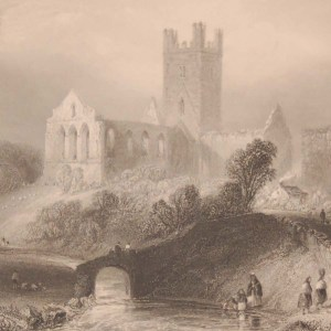 1841 Antique print a steel engraving of Jerpoint Abbey, Kilkenny, Ireland . The print was engraved by C Cousen and is after a drawing by William Bartlett.