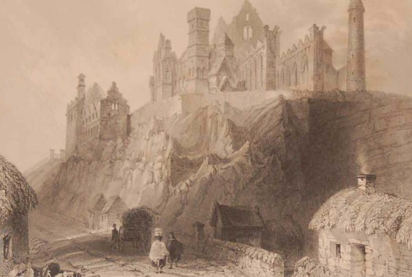 1841 Antique print a steel engraving of the Rock of Cashel, County Tipperary, Ireland . The print was engraved by T Turnbull and is after a drawing by William Bartlett.