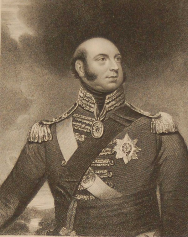 Antique print an engraving 1844 of Edward the Duke of Kent. Engraved by E Scriven and painted by Sir W Beechey RA. Early Victorian period.