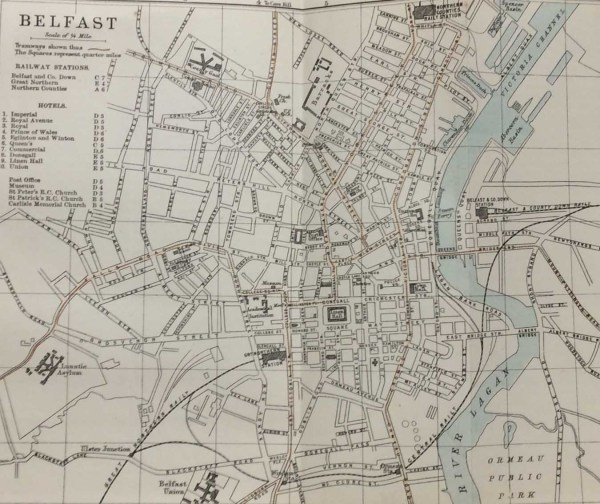 Antique plan, a map of Belfast from 1887. The map was originally produced as a guide for visitors to Belfast and as well as a street guide it contains on the left a list of Railway Stations and hotels.