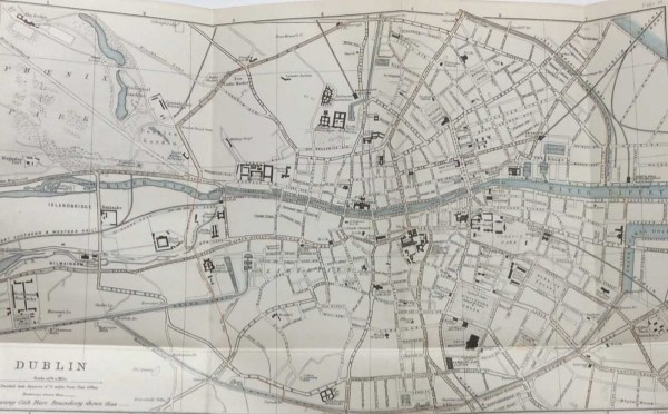 Antique plan, a map of Dublin from 1887. The map was originally produced as a guide for visitors to Dublin and as well as a street guide it contains on the right a list of Railway Stations, Hotels and some Public Buildings in Dublin.