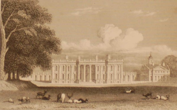 Heythorpe House, Oxfordshire, antique print, an engraving from the late Georgian period, published in 1831.