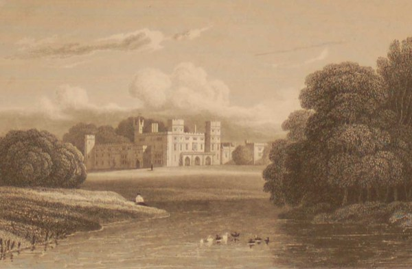 Sundorne Castle Shropshire, antique print, an engraving from the late Georgian period. The original drawing was done by J P Neale.