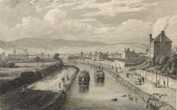 Dublin, from Blaquiere Bridge, Royal Canal 1832 Antique Print. The print was engraved by Edw Goodall and is after a drawing by George Pertrie.