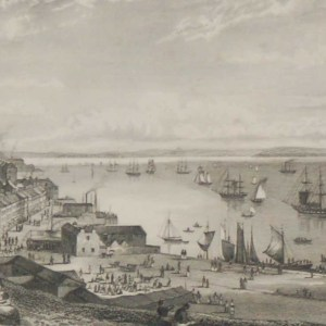 Cove Harbour Cork, looking toward Rostellan 1832 Antique Print. The print was engraved by Heath and is after a drawing by W H Bartlett.