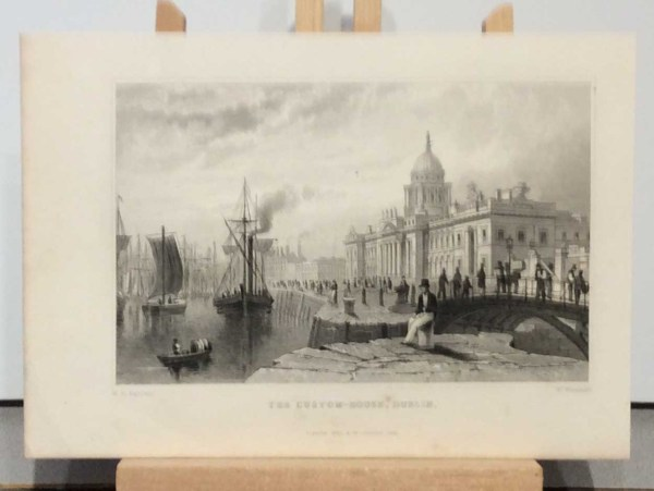 Antique print from 1832 of the Custom House, Dublin, Ireland. The print was engraved by W Woolnoth and is after a drawing by William Bartlett.
