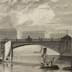 Antique print from 1832 of The Kings Bridge Dublin (Mast View) & Royal Barracks in Dublin, Ireland. The print was engraved by T Higham and is after a drawing by George Pertrie.