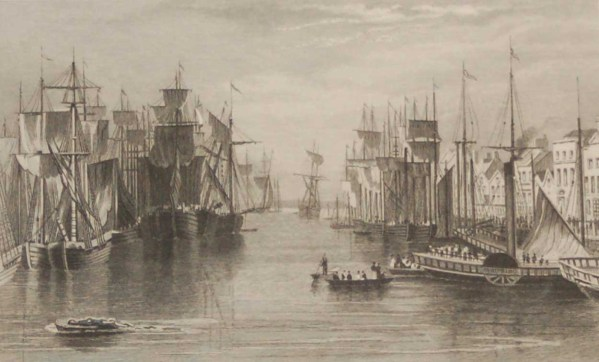 Merchants Quay Cork 1832 Antique Print. The print was engraved by J Thomas and is after a drawing by W H Bartlett.