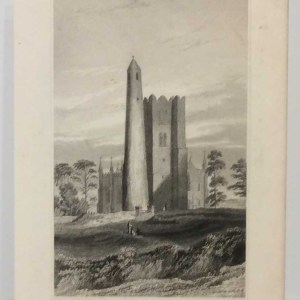 The Round Tower, Belfry & Church of Swords, 1832 Antique Print. The print was engraved by Robert Brandard and is after a drawing by George Pertrie.