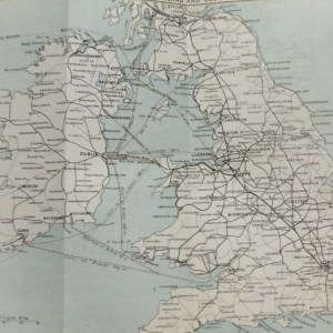 Antique map sketching routes from Ireland to England and Scotland from 1887. Some of the routes include Cork to Bristol, Waterford to Milford and Dublin to Glasgow.