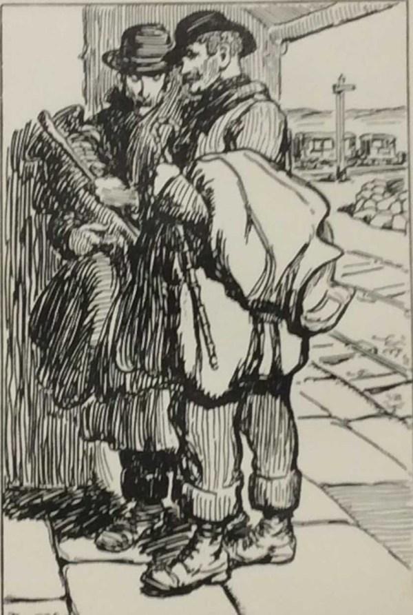 Jack B Yeats Pig Jobbers 1912 antique print.